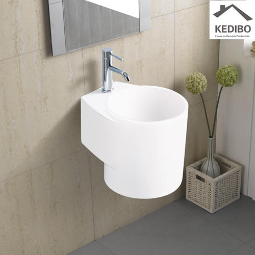 280x385 Round One Tap Hole Wall Hung Basin Sink 6100