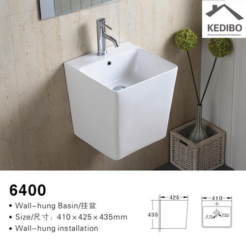 400x425 Straight Square Half-pedestal Wall Hung Basin 6400