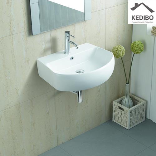 605x455 Oval Simple Wall Hung Installation Ceramic Basin Sink 1075