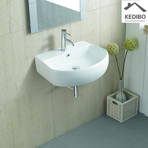 605x455 Oval Simple Wall Hung Installation Ceramic Basin Sink 1075