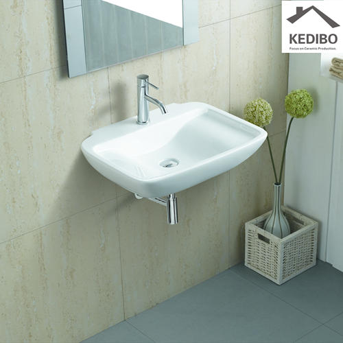 610x465 Classical  Rectangle White Wall Hung Basin Sink 1226