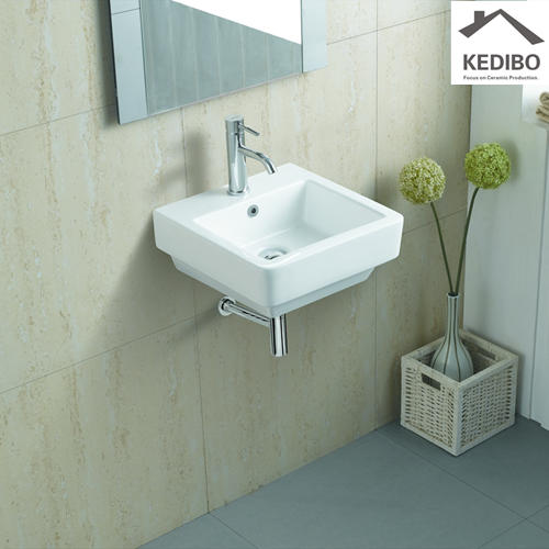 430x430 Square Bathroom Wall Hung Basin With Overflow 1028A