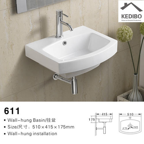 510x420 Popular Sale Square Ceramic Wash Basin Sink 611