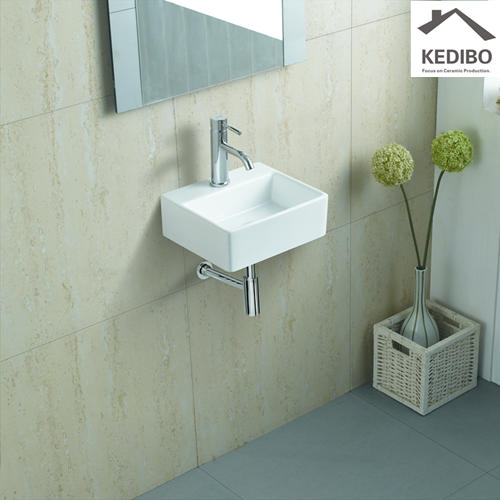 340x295 Small Size Rectangle Slim Wall Hung Basin 006