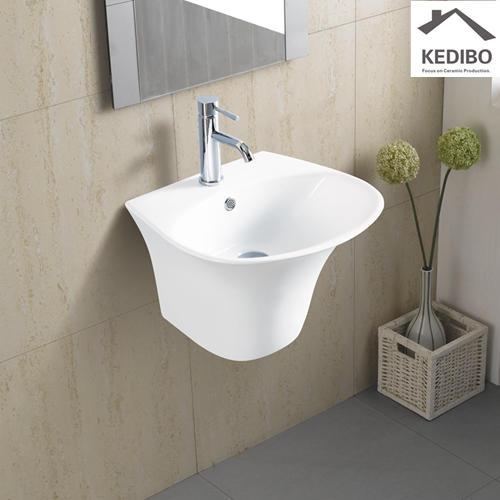 400x380 Half-pedestal Round Wall Hung Bathroom Basin Sink 5600D