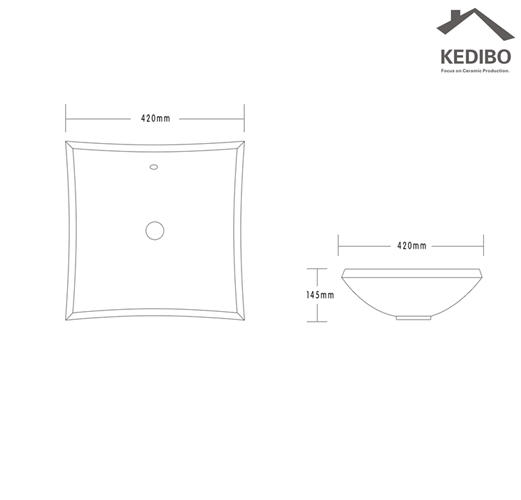 420x420 Dish Shape Bathroom Ceramic Art Basin 7072