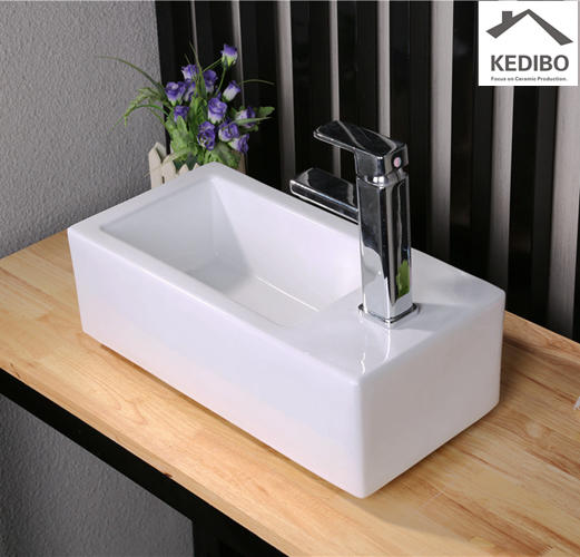 405x245 Long and Narrow Small Size Powder Room Basin Sink 7098A