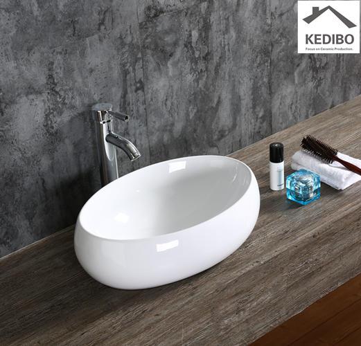 490*340 CSA Bathroom Oval Thick Ceramic Wash Basin 8004
