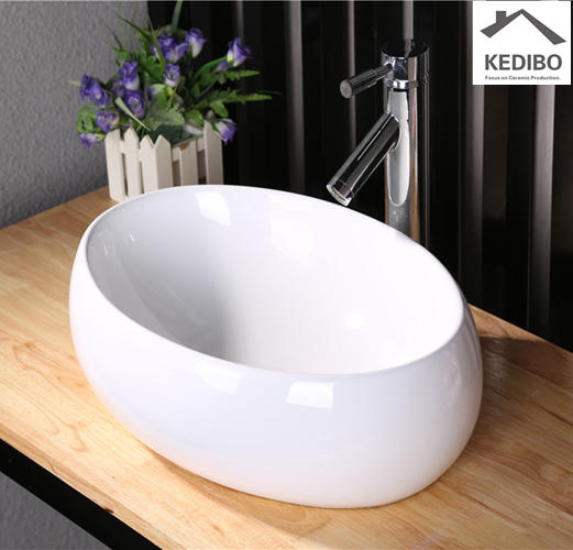 490*340 CSA Bathroom Oval Thick Ceramic Wash Basin 8004