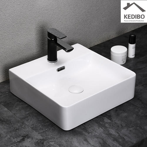 500x420 Bathroom Super Slim Square Ceramic Basin Sink 7602