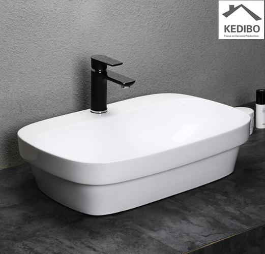 600x420 Bathroom Ceramic Washbasin Sink With Round Corner 0043