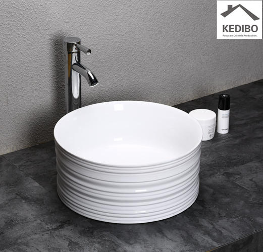 400X400 Round Slim Porcelain Washbasin with Special Design 0051A