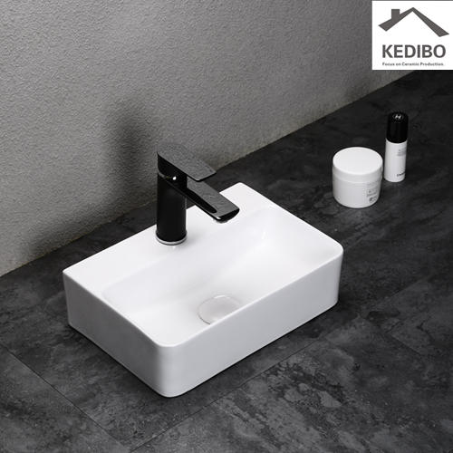 365x255 NEW PRODUCT Small Size Bathroom Square Ceramic Basin Sink 0072C