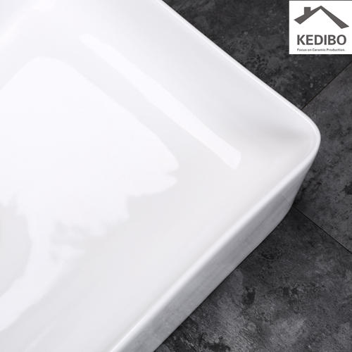 455x355 Slim Square Ceramic Washbaisn Sink Without Overflow 7603