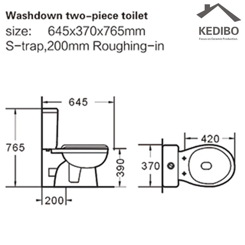 China Cheap Price Washdown Two-piece Toilet Commode 008