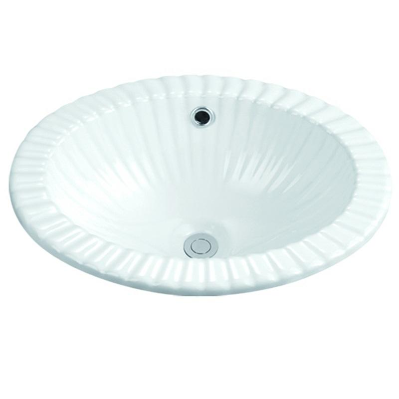 455x360 Oval Semi Recessed Ceramic Basin 1-1802