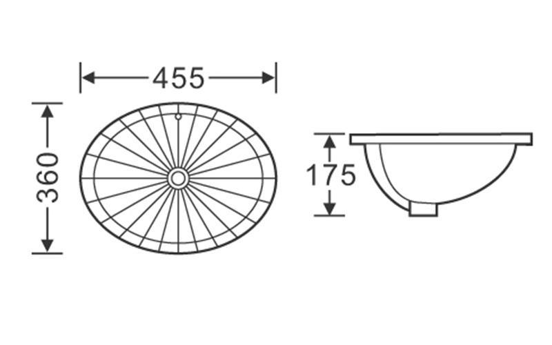 455x360 Oval Semi Recessed Ceramic Basin 1-1802