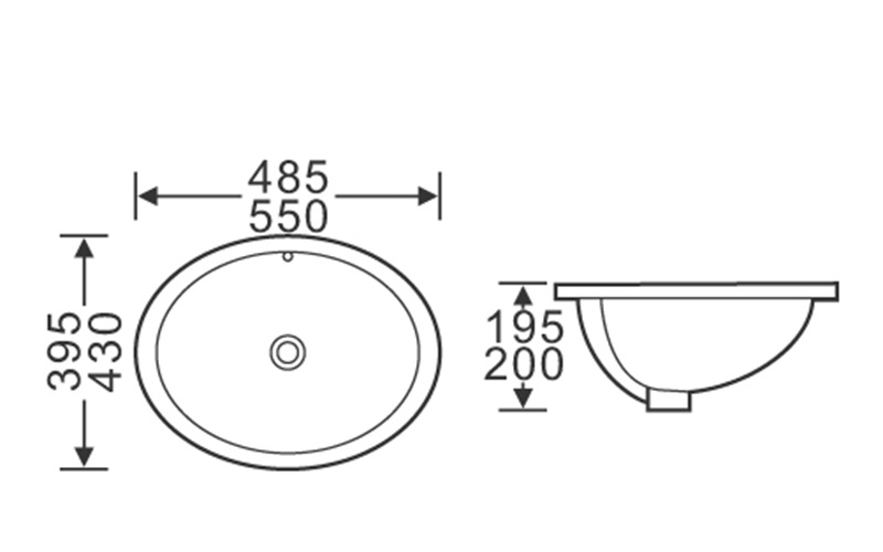 485x395/550x430 Oval Semi Recessed Counter Top Basin Sink 1-1901-2