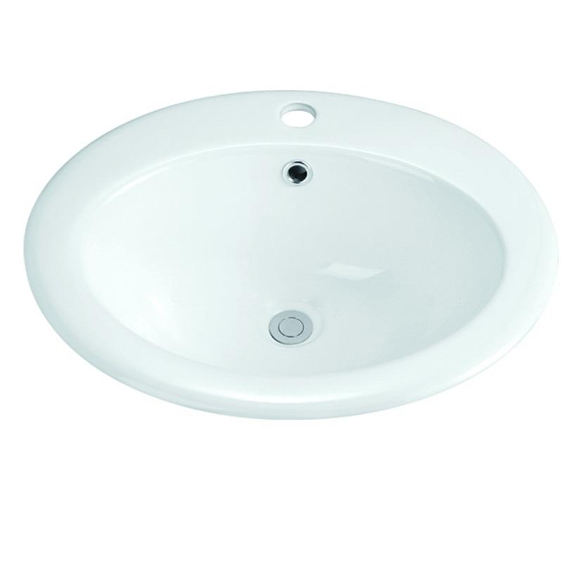510x455 Semi Recessed Oval Ceramic Basin Sink With Tap Hole 1-2001