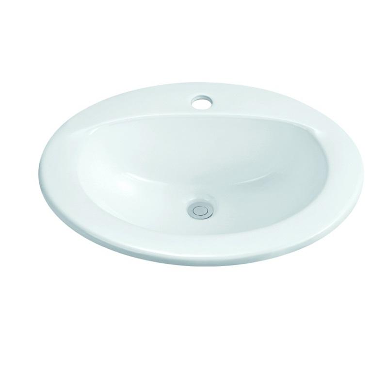 520X425 Oval Semi Recessed Ceramic Basin Sink 1-2002-1