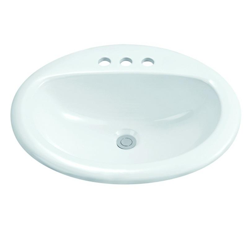 500x420 Oval Semi Recessed Ceramic Basin Sink With 1-2003