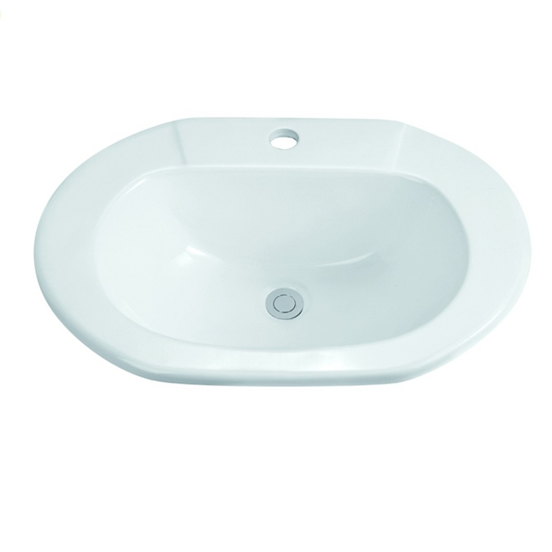 575x425 Bathroom Oval Ceramic Semi Recessed Basin Sink1-2204-1