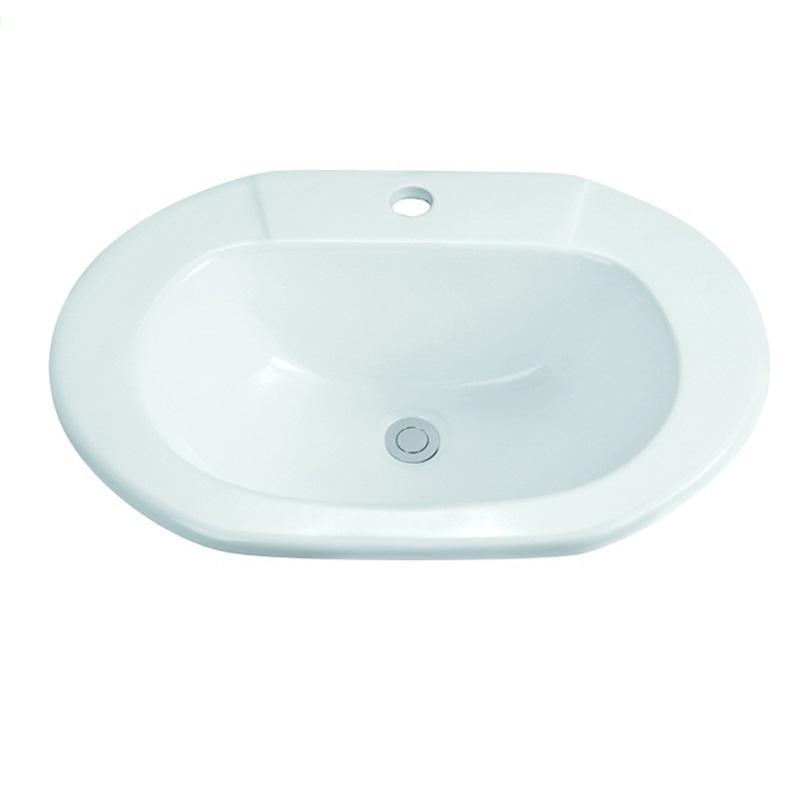 575x425 Bathroom Oval Ceramic Semi Recessed Basin Sink1-2204