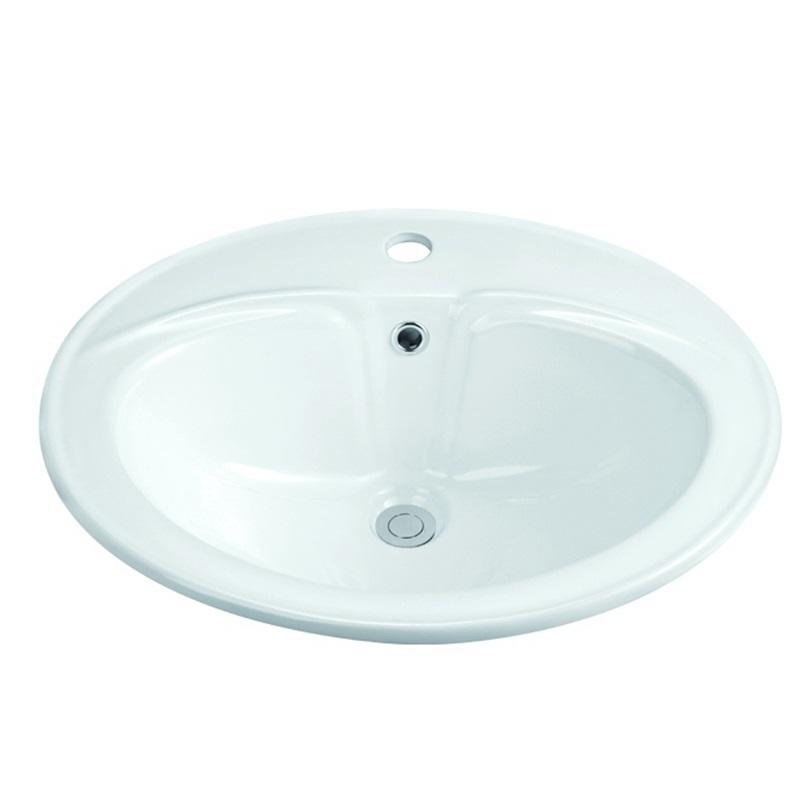 550x480 Bathroom Semi Recessed Ceramic Basin Sink 1-2213