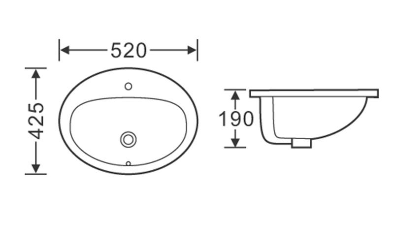 520X425 Oval Semi Recessed Ceramic Basin Sink 1-2002