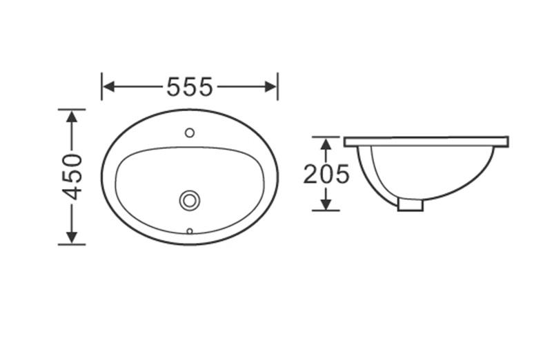 555x450 Oval One Tap Hole Above Counter Top Basin Sink 1-2214