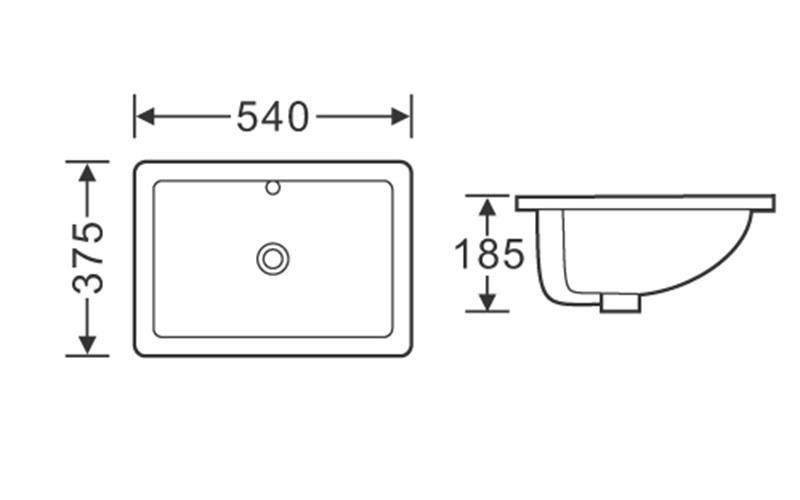 540x375 Rectangle Bathroom Ceramic Hand Wash Basin Sink 101