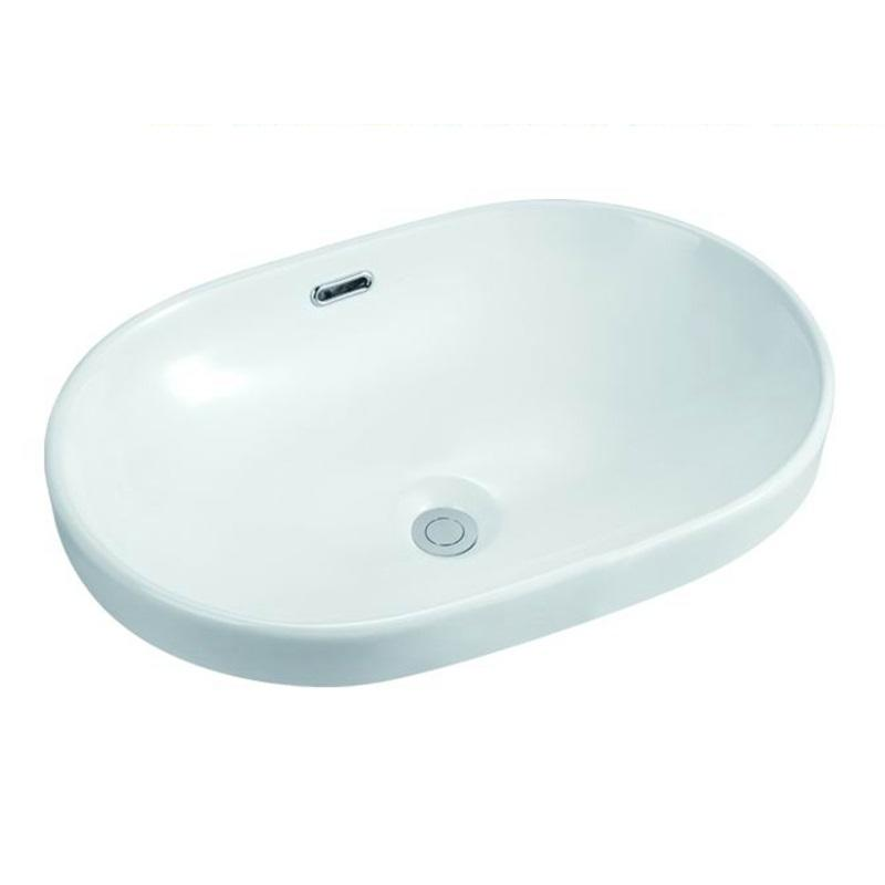 585x400 Oval Bathroom Semi Recessed Basin Sink 102