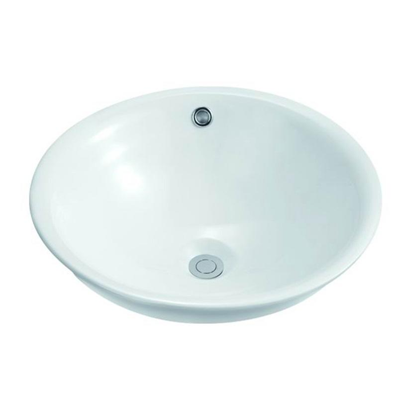 470x470 Oval Bathroom Ceramic Semi Recessed Basin Sink 110
