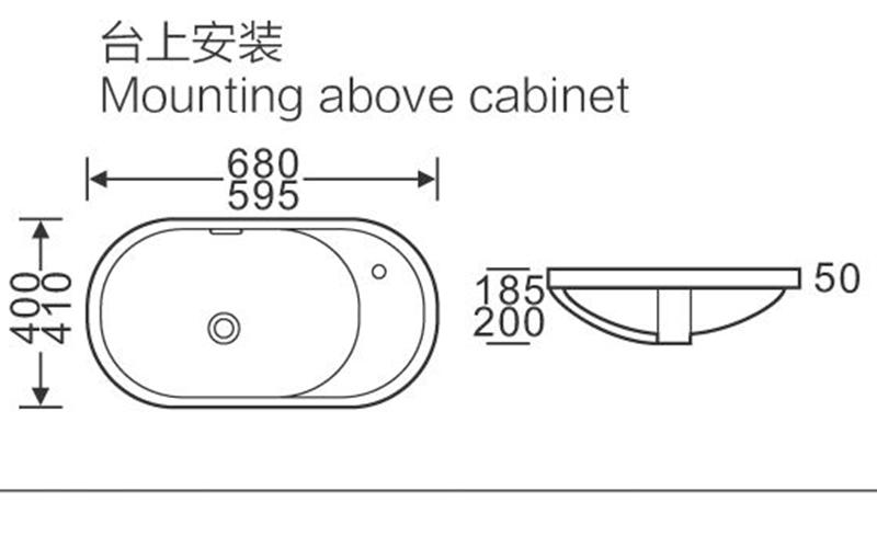 680x410/595x400 Oval  Above Counter Top Basin Sink with Corner Tap Hole 112/122