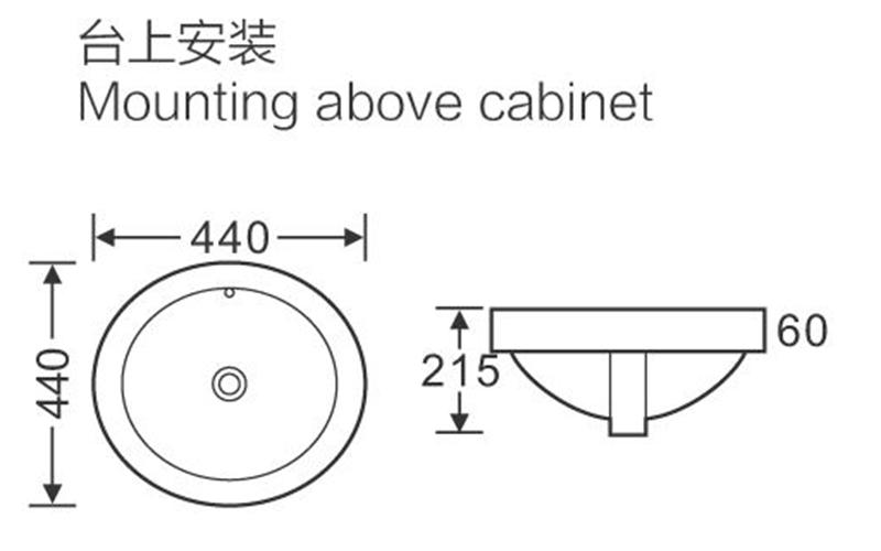 440x440 Round Bathroom Above Counter Top Basin Sink 120-2