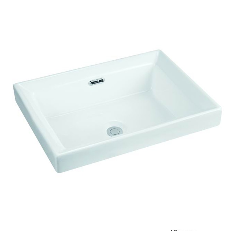 500x380 Rectangle Bathroom Semi Recessed Basin Sink 121-1
