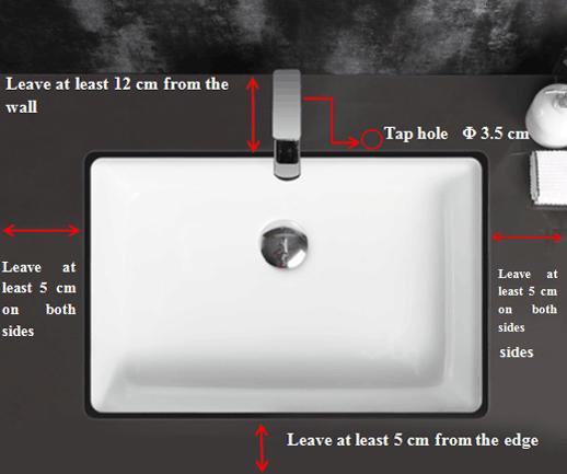500x380 Rectangle Bathroom Semi Recessed Basin Sink 121