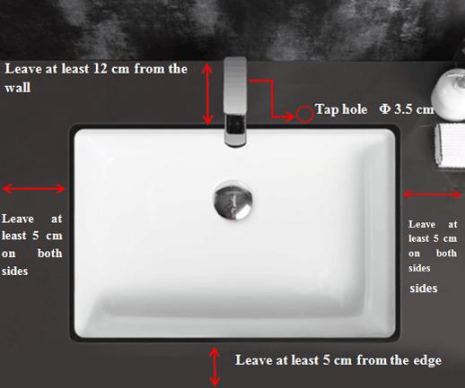 530x370 Bathroom Square High Grade Ceramic Under Mounted Basin 2-2101-10