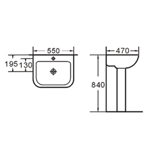 555X470 Classical Pedestal Wash Basin Sink 013B-6