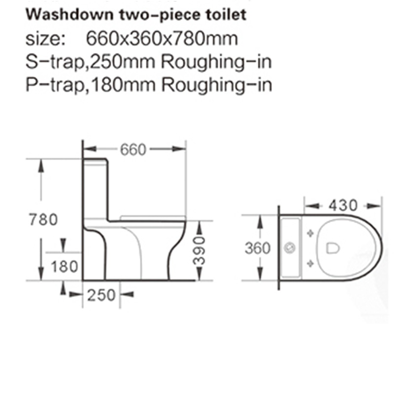 fashionable two piece toilet design factory price for residential building-2