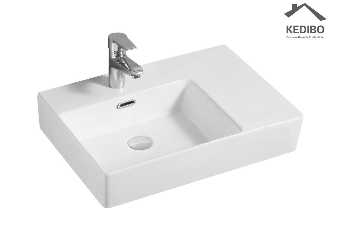 600x420 KEDIBO New Wall Hung Luxury Porcelain Wash Basin (CS-5040L)