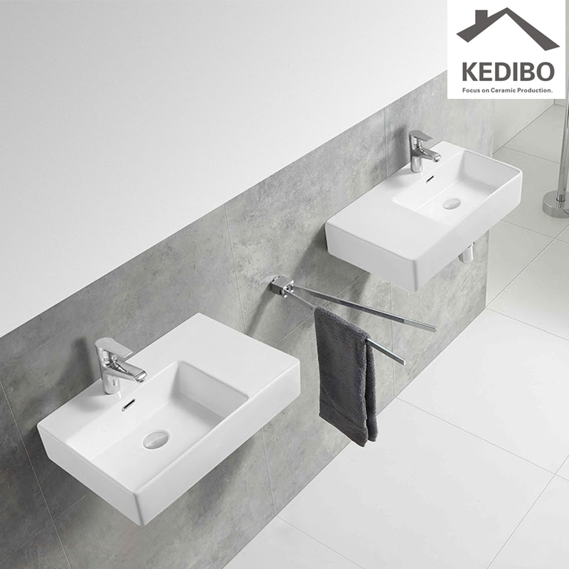 KEDIBO widely used ceramic wall hung basin overseas market for commercial apartment-1