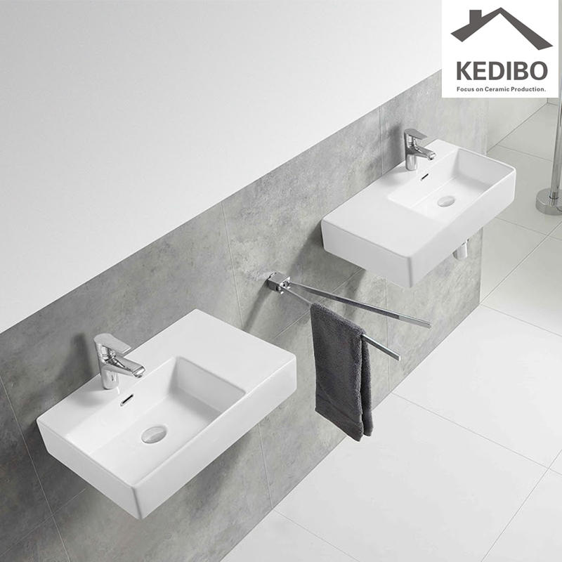 KEDIBO widely used ceramic wall hung basin overseas market for commercial apartment