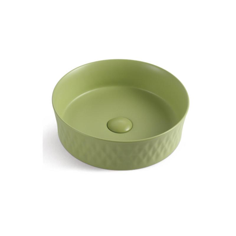 Fresh Green Color Kindergarten Kids Hand Washing Ceramic Basin 1040