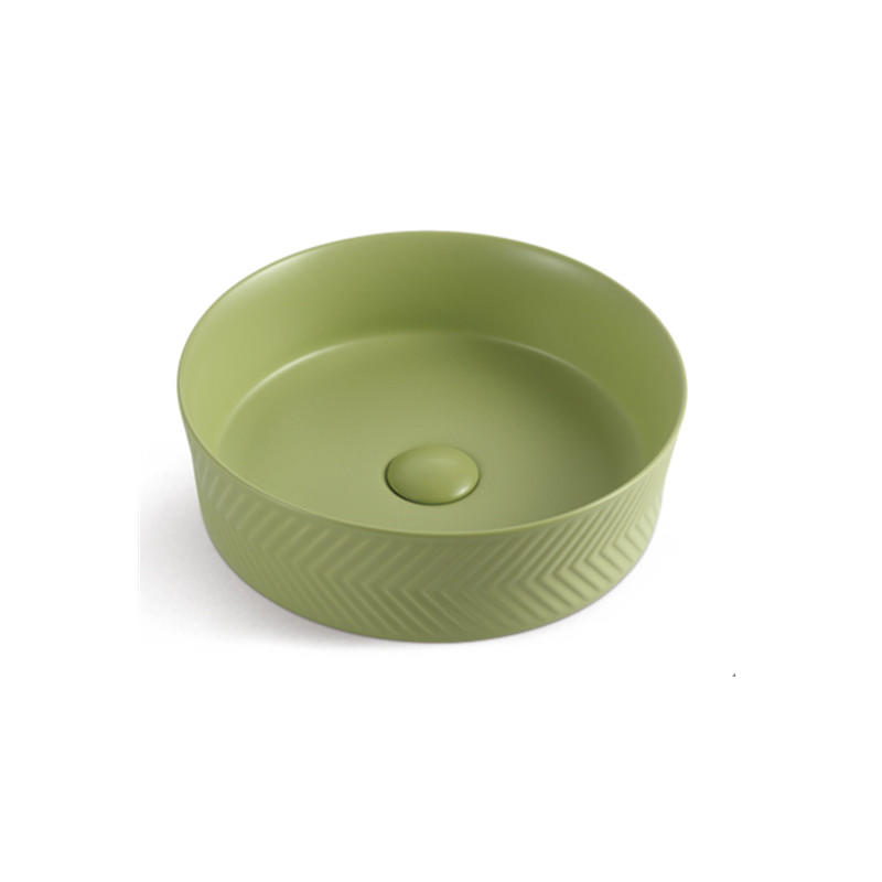 Fresh Green Color Kindergarten Kids Hand Washing Ceramic Basin 1040