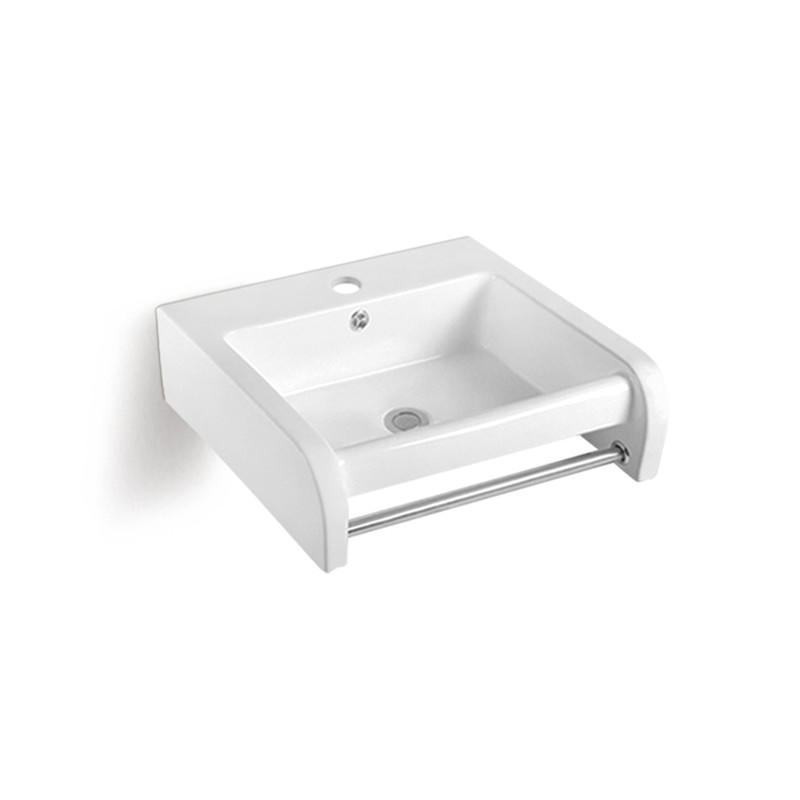 Outdoor Bathroom Use  Wall Hung Ceramic Basin With Towel Bar(838)