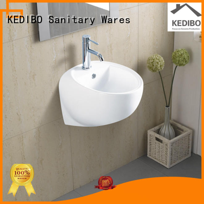 ceramic white square glossy wall hung wash basin KEDIBO Brand